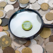 Euro surrounded by old European coins — Stock Photo