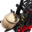 Stack of 2 Euro coins on forklift - Stockfoto
