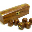 Royalty-Free Stock Photo: Old wooden dices with box