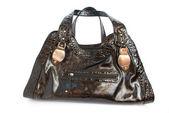 Black female shiny bag isolated on white — Stock Photo
