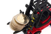 Stack of 2 Euro coins on forklift — Fotografia Stock