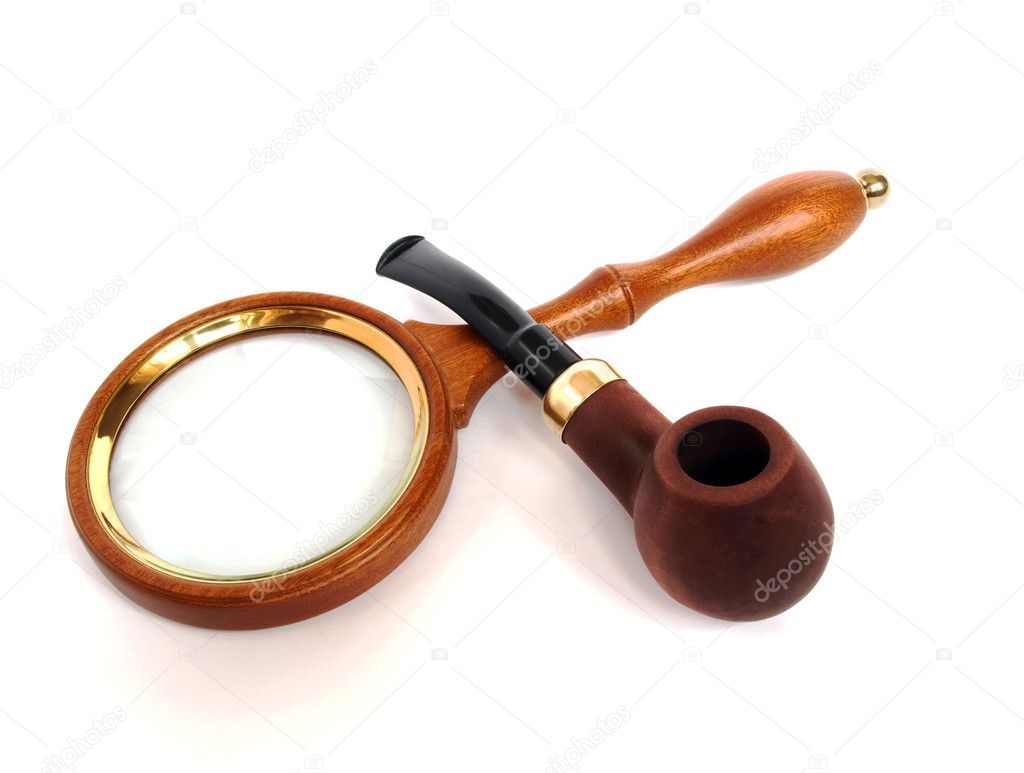 Wooden pipe and magnifying glass  isolated on white  Stock Photo #1021546