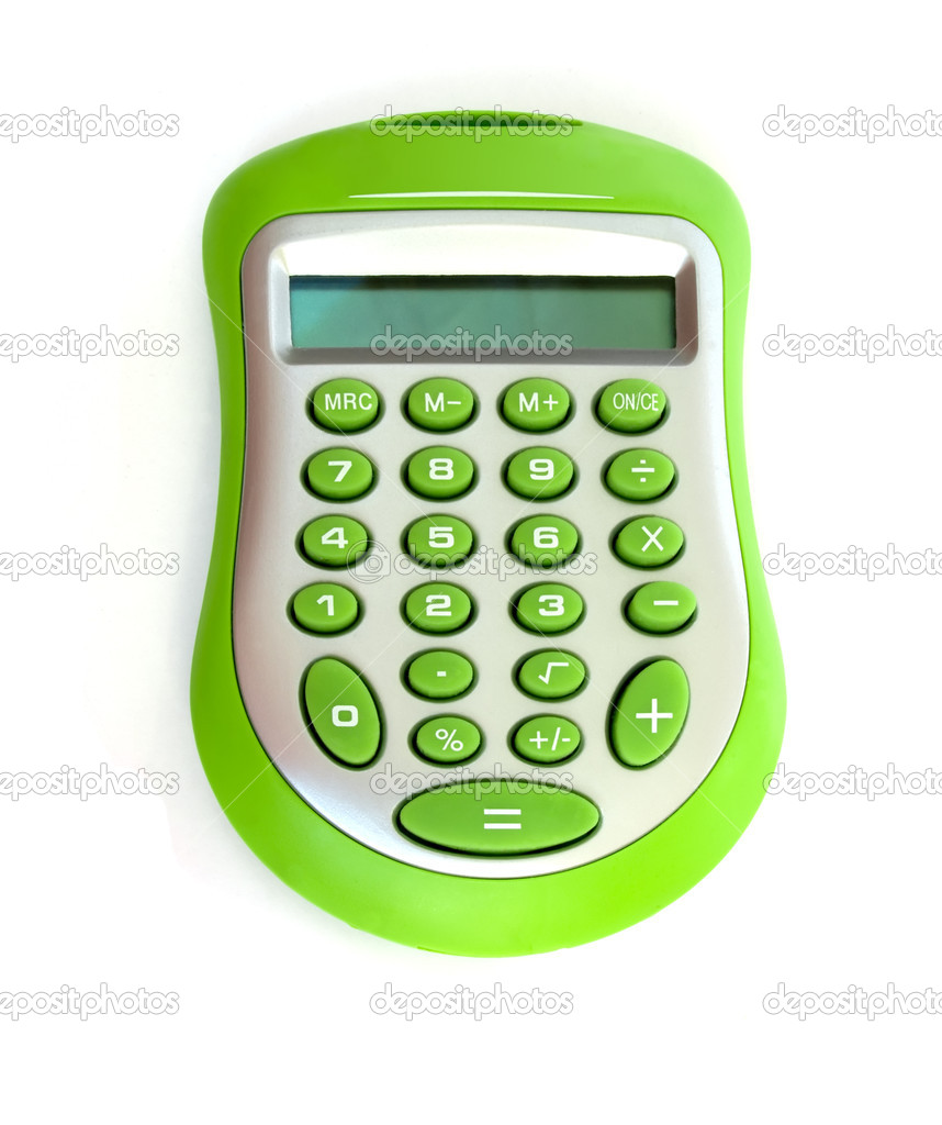 Green calculator isolated on white — Stock Photo #1024507