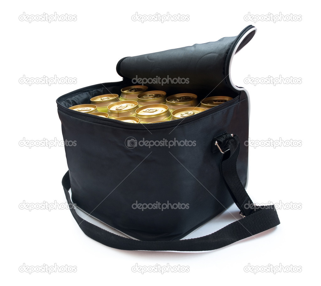 Black cooler bag with cans of beer isolated on white — Stock Photo #1027459