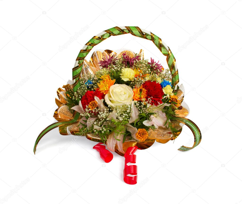 Bouquet of various flowers in a basket isolated on  white  Stock Photo #1050576