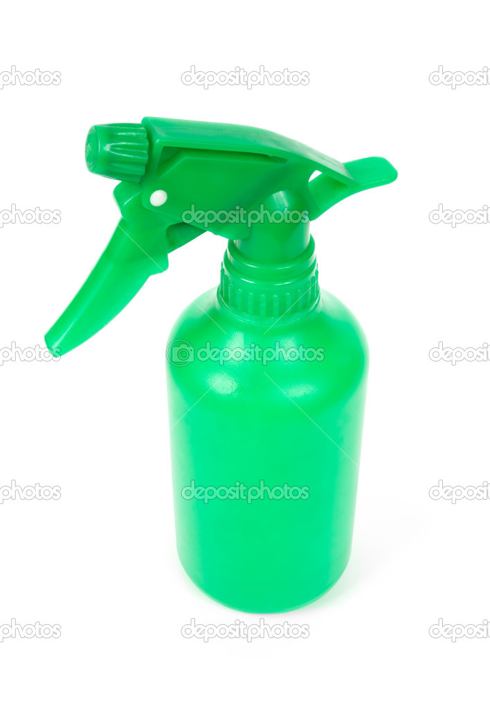 Green plastic spray bottle isolated on white — Stock Photo #1050600