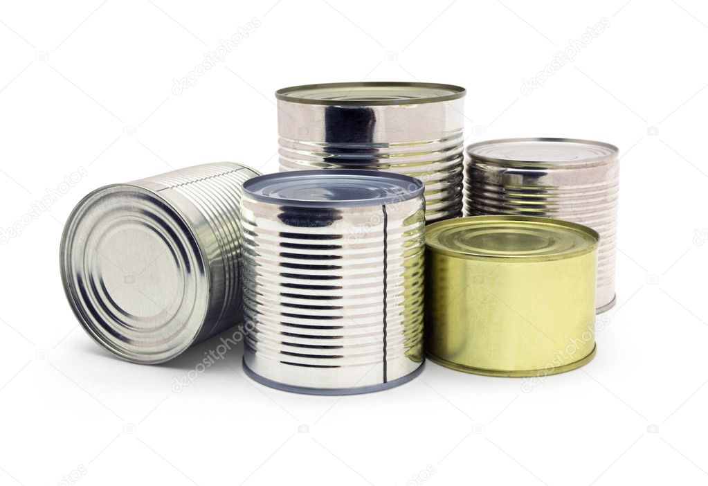 Group of food tin cans isolated on white — Stock Photo #1727230
