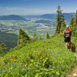 Hiker and dog - Stock Photo