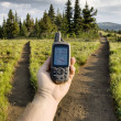 GPS at a Trail Junction - Stock Photo