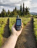 GPS at a Trail Junction — Stock Photo