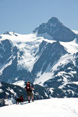 Snowshoer and his dog and Mt. Shuksan — Stock fotografie