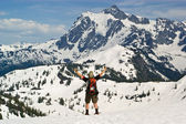 Snowshoer celebrates victory at winter m — Stock Photo