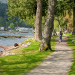 Mother strolling infant on lakeside path — Stock Photo