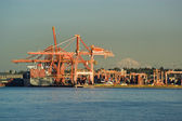 Container ships at Port of Vancouver — Stock Photo