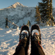 Stock Photo: Strapped on snowshoes