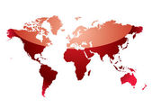 World map reflect red — Stock Vector