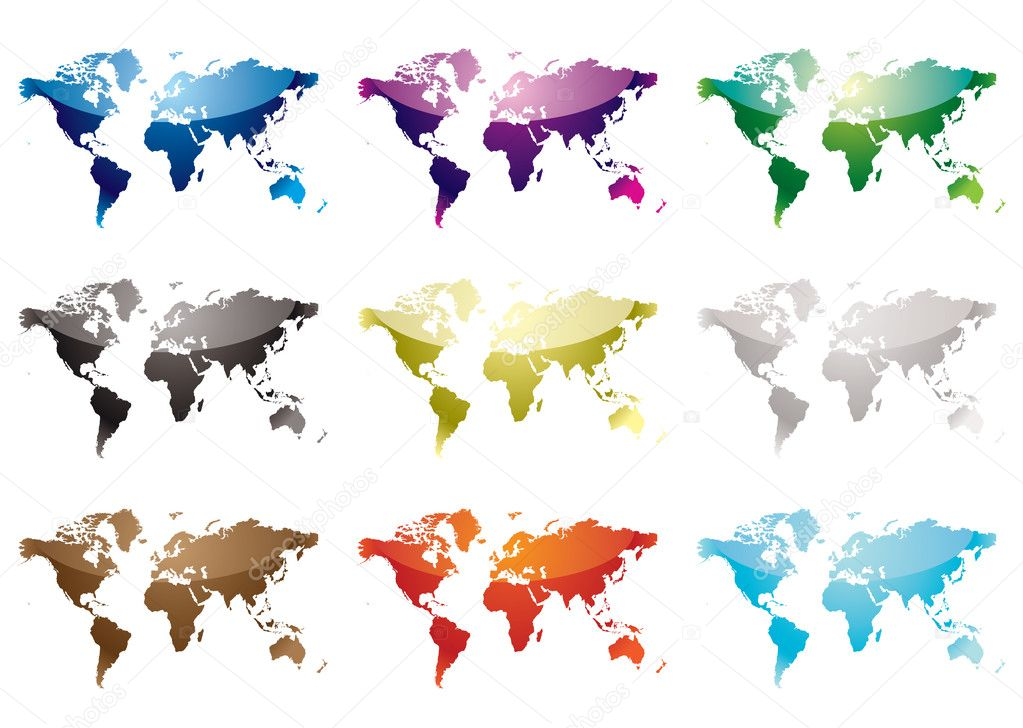 Collection of nine world maps with colour variation and light reflection — Stock Vector #1115997