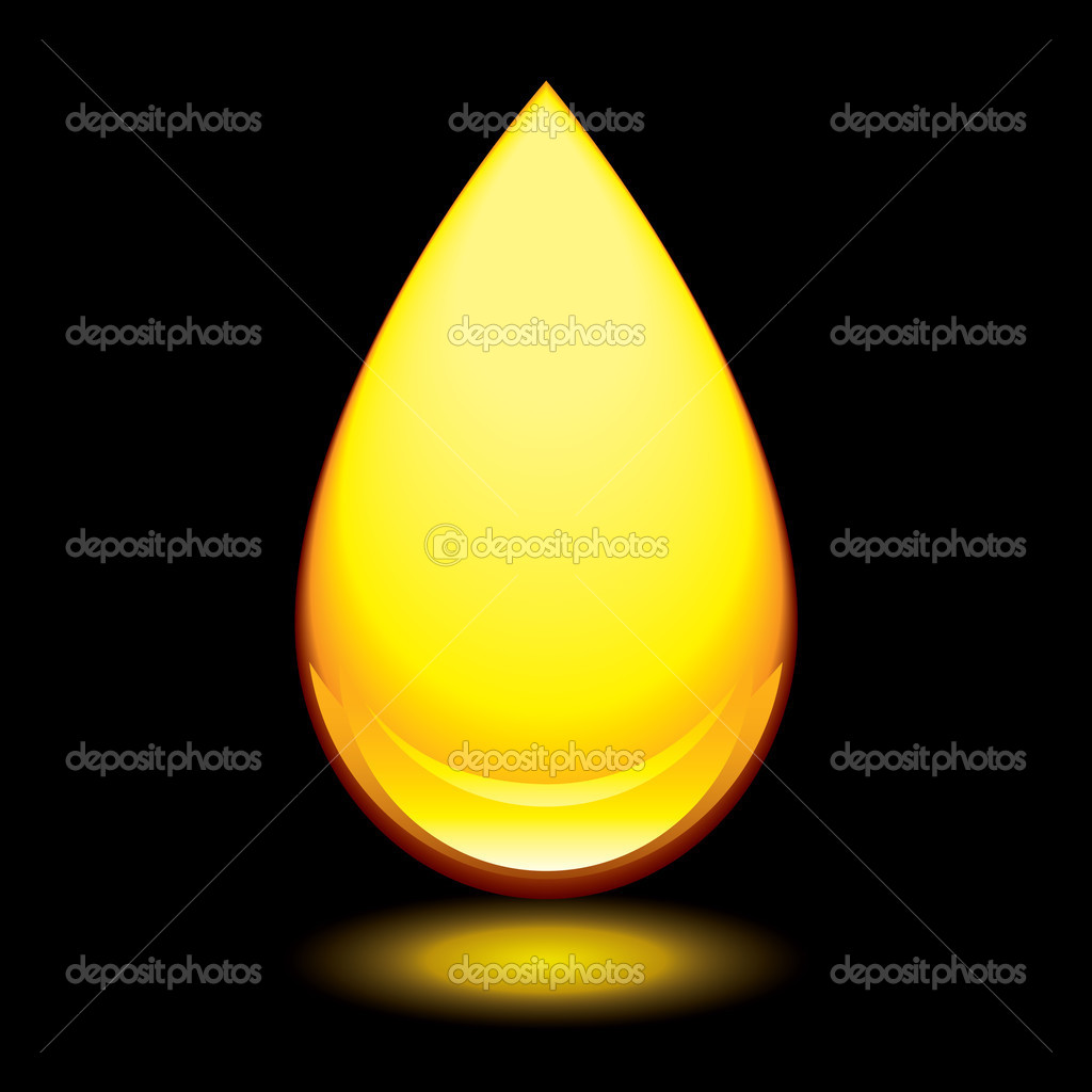Golden amber droplet with outer glow and black background — Stock Vector #1118012