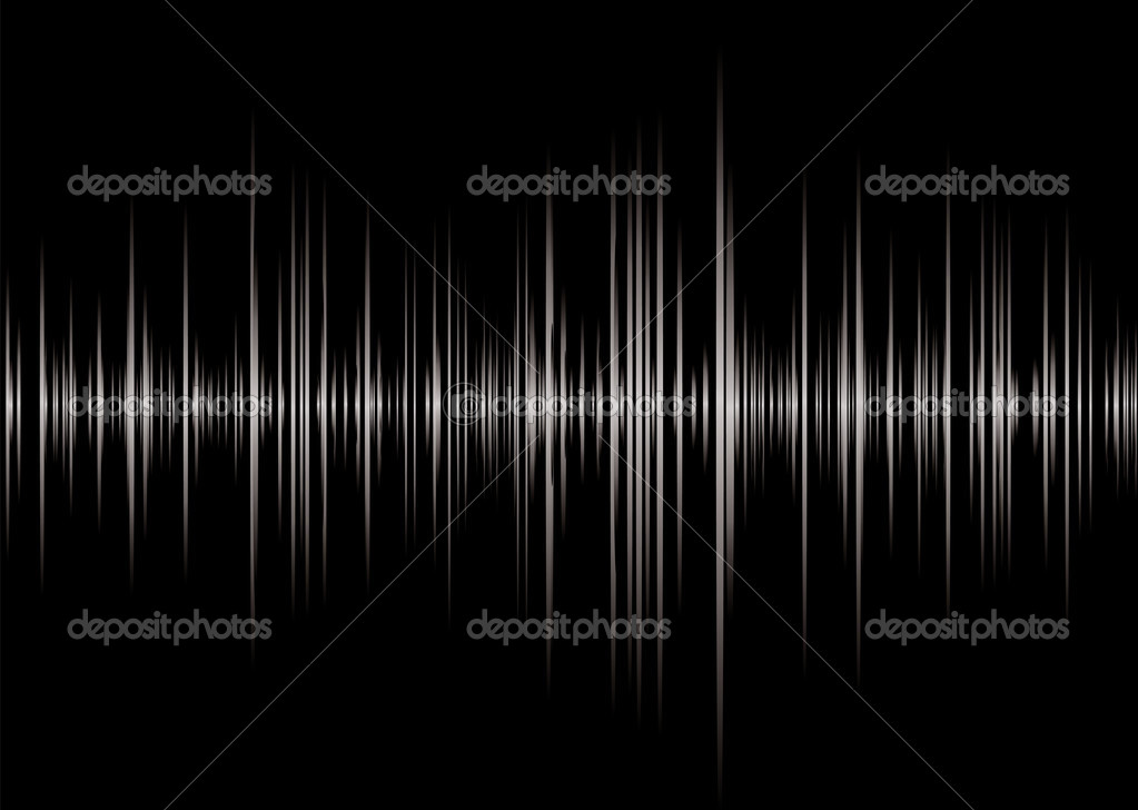 Black and silver graphic music read out with peaks and wave forms — Stock Vector #1118025
