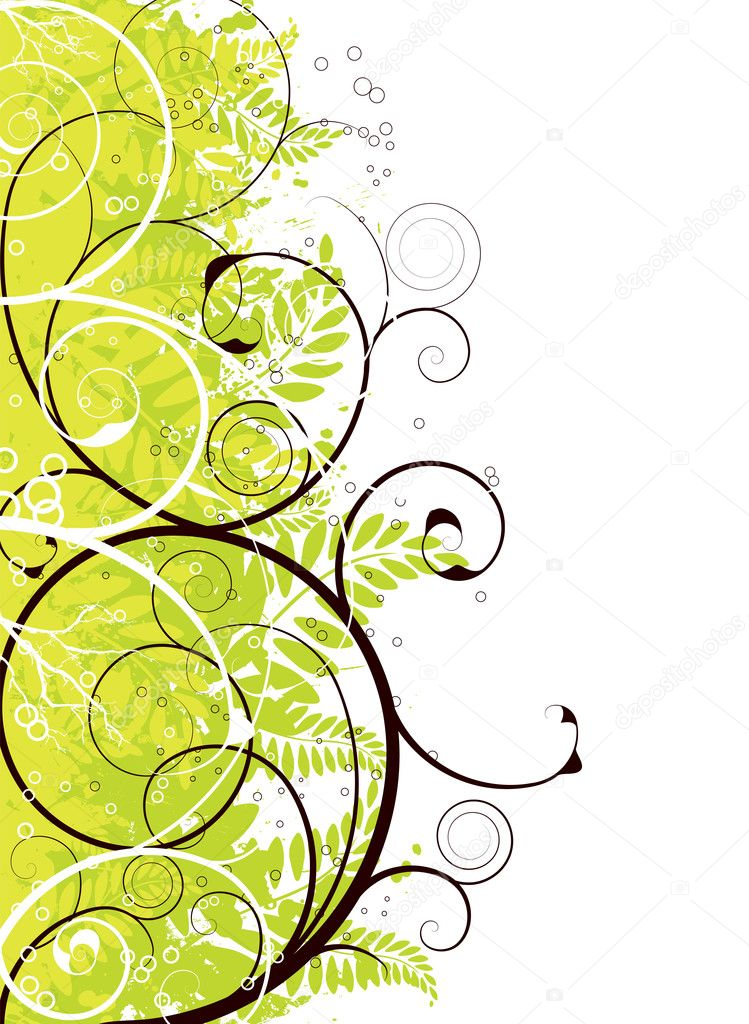 Green floral background design in different shades of green — Stock Vector #1119262