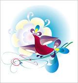 Decorative birdie — Stock Vector