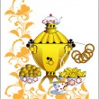 Stock Vector: Samovar and tedrinking