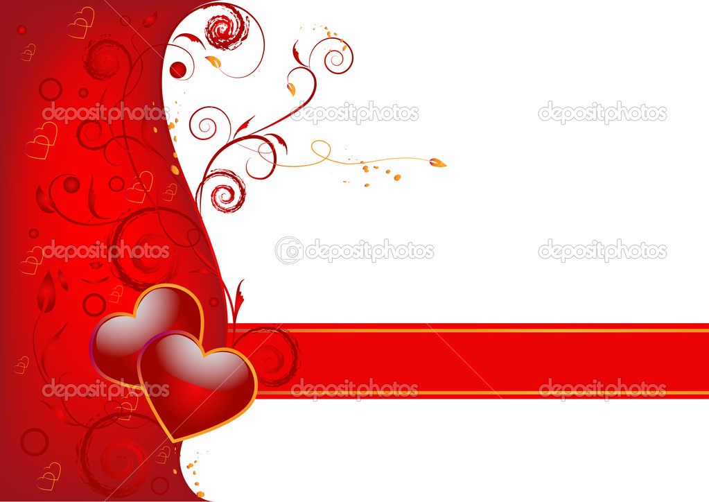 Hearts on a red and white background — Stock Vector #1741547