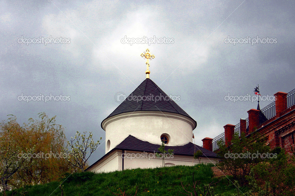 Dome of church against the storm sky — Stock Photo #1417690
