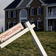 Foreclosure Sign by house — Stock Photo