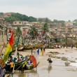 Stockfoto: Boats on beach at Cape Coast