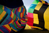 Two Hot air balloons being inflated — Stock Photo