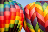 Two Hot air balloons bumping — Foto Stock