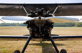 Propeller and engine of old biplane — Stock Photo