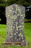 Old grave marker with lichen and moss — Stock Photo