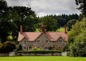 Pair of cottages surrounded by meadows — Stock Photo