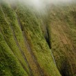 Stock Photo: Multiple waterfalls on Kauai
