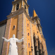 Statue of Christ in front of Mazatlan Ch — Stock Photo