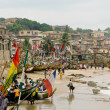 Boats on beach on Cape Coast in Ghan — Stok Fotoğraf #1093316