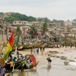 Stockfoto: Boats on beach on Cape Coast in Ghan