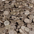 Pile of silver dime coins — Stock Photo