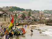 Boats on the beach on Cape Coast in Ghan — Foto de Stock