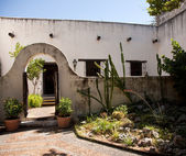 Shady garden in old Mexican house — Stock Photo