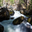 Peaceful river flowing over rocks — Stock Photo