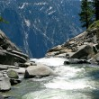 River dropping off edge of Yosemite Fall — Stock Photo