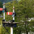 Old railway semaphore signals at Llangol — Stock Photo #1148340