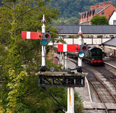 Llangollen station in Wales with the sem — Stock Photo