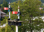 Old railway semaphore signals at Llangol — Stock Photo