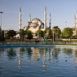 Blue Mosque Domes framed by pond — Stock Photo
