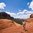 Single hiker facing camera in Sedona — Stock Photo