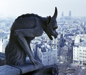 Gargoyle overlooking Paris — Stock Photo